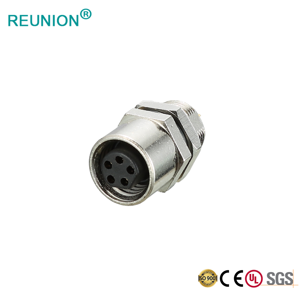 Front Lock M8 Panel Female Connector IP67 Waterproof Industrial Sensor Connector